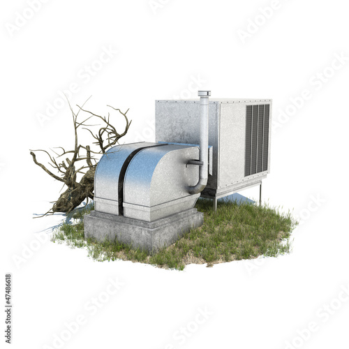 powerful Air-conditioning device 3d illustration