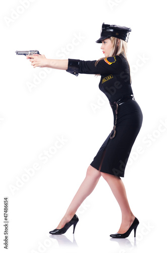 Woman police isolated on the white