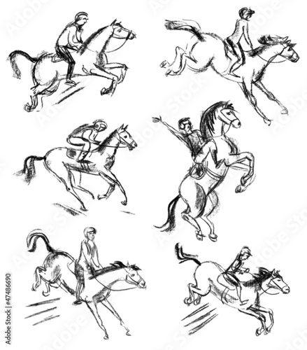Derby, Equestrian sport horse and rider. Hand-drawn