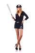 Woman police with baseball bat