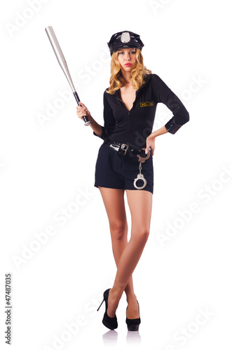 Woman police with baseball bat