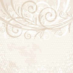 Aged vintage background with floral elements