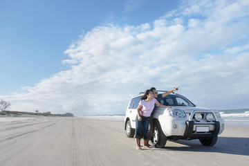 Honeymoon road trip at the beach