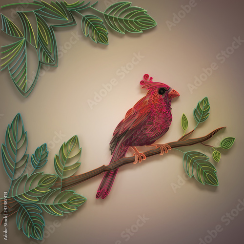 decorative ornate filigree red cardinal bird design