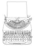 green typewriter and paper line art