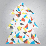 Christmas Tree Greeting Card ... Grunge (Mondrian colors) poster