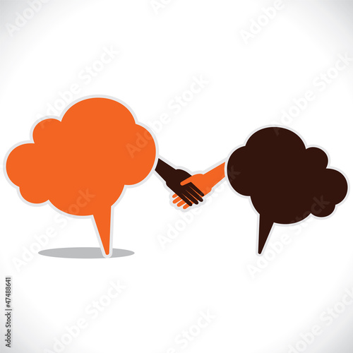 Hand shake stock vector with comment bubble