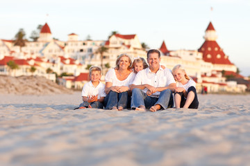 Happy Caucasian Family in Front of Hotel Del Coronado