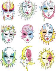 Women in Venetian carnival masks