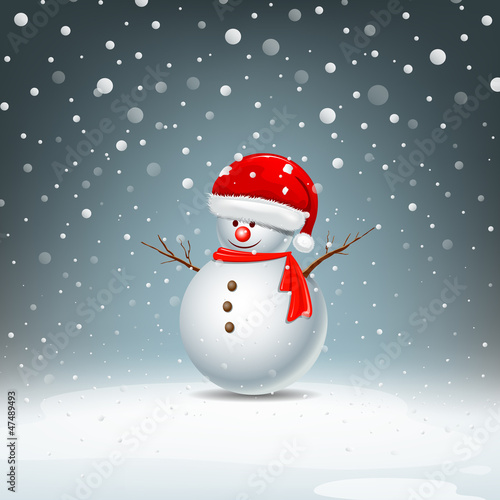 Snowman have Hat red Santa Claus on snow background