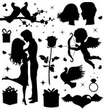 Collection of  Valentine's day silhouettes.