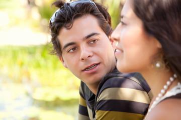 Attractive Hispanic Couple Portrait Outdoors