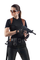 Officer woman with gun