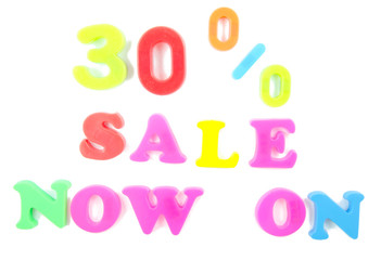 30% sale now on written in fridge magnets