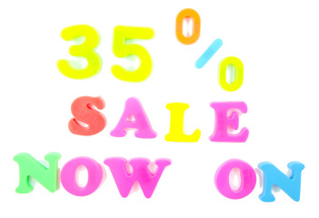 35% sale now on written in fridge magnets