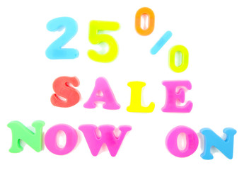 25% sale now on written in fridge magnets