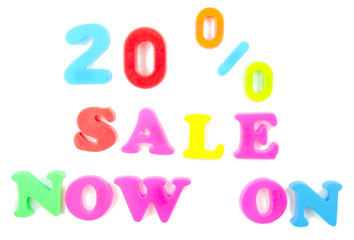 20% sale now on written in fridge magnets