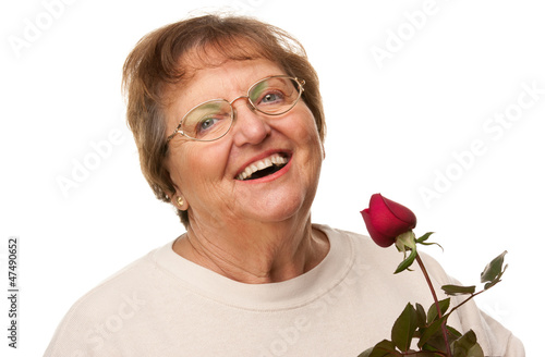 Attractive Senior Woman with Red Rose.