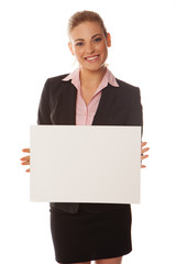 Business woman holding a white card