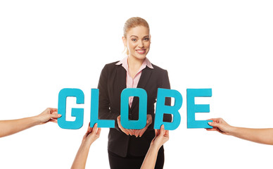 Attractive woman with the word GLOBE