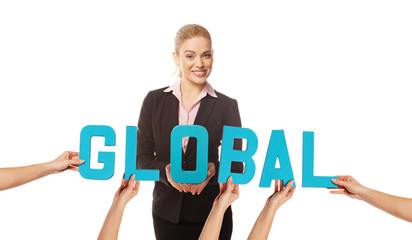 Attractive woman with the word GLOBAL