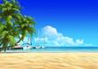 Marina pier and palms on tropical sand beach.