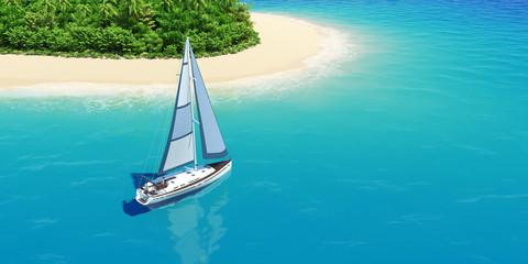 Yacht near the tropic island.