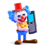 Clown talks on his mobile phone