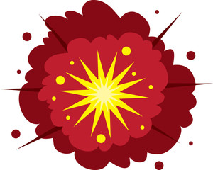 Isolated explosion. Red and yellow.