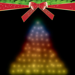 Colorful christmas tree with red bow
