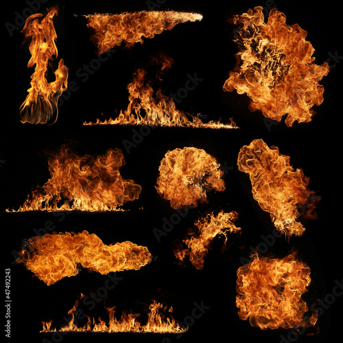 High resolution fire collection isolated on black background - 47492243