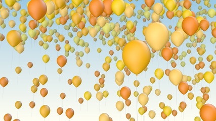 Color balloons fly away
