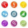zestaw kolorowe ikony praca cel rozwiązanie pomysł wzrost