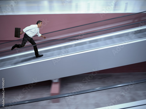 Stressed businessman in airport