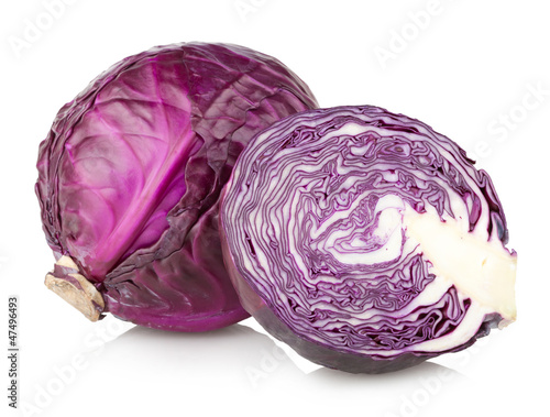 Fotobehang Groenten red cabbage isolated on white