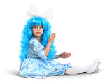 Little doll girl with blue hair