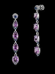 Fashion earrings with diamonds and gem