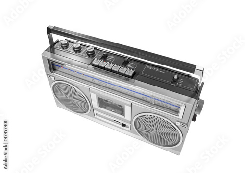 Portable Vintage Radio Cassette Recorder Isolated