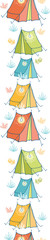 Vector camp tents vertical seamless pattern background ornament