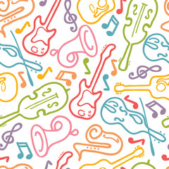 Vector musical instruments seamless pattern background with hand