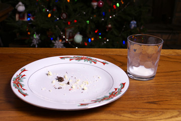 Christmas Cookie Crumbs and Empty Milk Glass