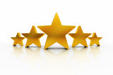Five Stars with reflections over white representing excellence