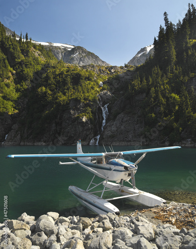 Floatplane on Lake Loverley in the Rock Mountains. BC. Canada