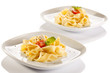 Pasta with tomatoes and white cheese