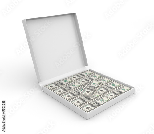 3d box for pizza with money