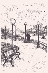 Vector landscape. Young couple on a park promenade with benches