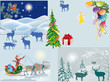 Santa Claus and deers in winter landscapes
