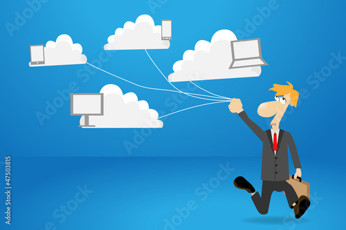 Businessman works with cloud computer concept ideas