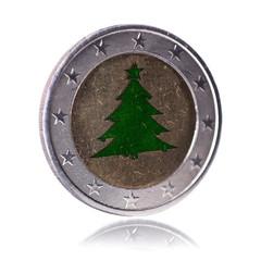 Weihnachtsbaum Euro Münze