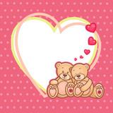Fototapety valentine teddy bears frame